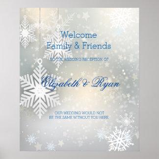 Winter Wedding, Snowflakes, Custom Welcome Poster