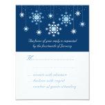 "Winter Wedding Snowflakes Response Card 4.25"" X 5.5"" Invitation Card"