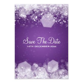 Winter Wedding Sparkling Night Purple Card