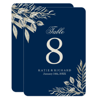 Winter Wedding Table Numbers Card