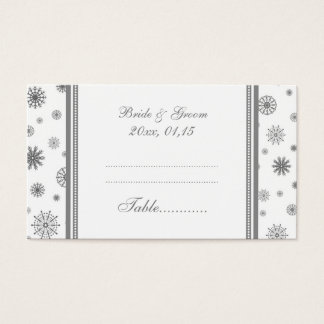 Winter Wedding Table Place Setting Cards Grey