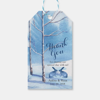 Winter Wedding Thank You Watercolor Trees Rabbits Gift Tags