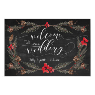 Winter Wedding Welcome Chalkboard Sign Poster