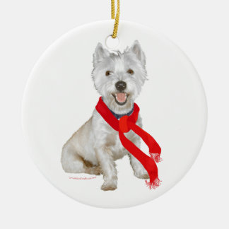 Winter Westie in a Red Scarf Ceramic Ornament