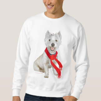 Winter Westie in a Red Scarf Sweatshirt