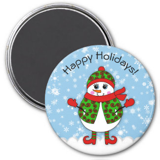 Winter Whimsy Lady Snowman Happy Holidays 7.5 Cm Round Magnet