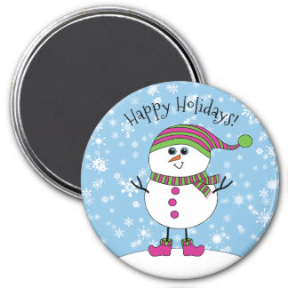 Winter Whimsy Snowman Happy Holidays 7.5 Cm Round Magnet