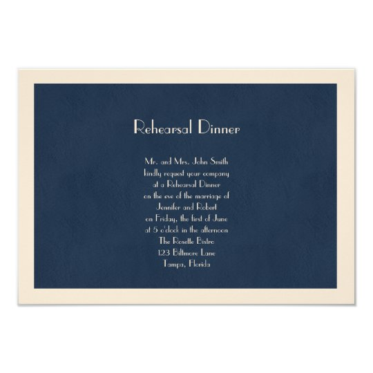 Winter White and Navy Blue Wedding Rehearsal Card