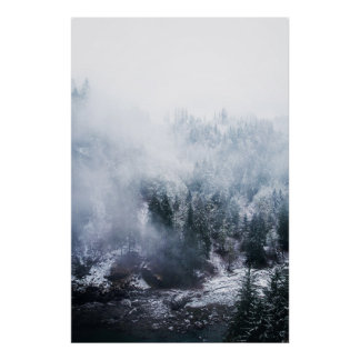 Winter White Hillside Poster