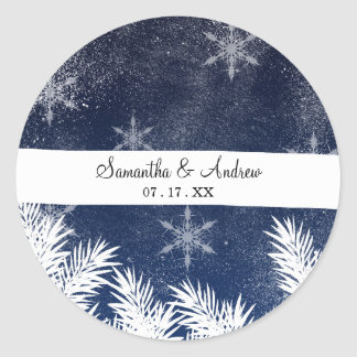 Winter white snow pine trees navy blue Christmas Classic Round Sticker