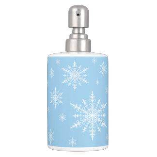 Winter White Snowflakes on Light Cornflower Blue Bath Accessory Set
