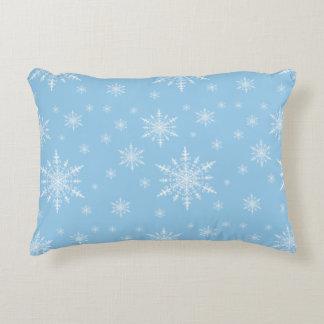 Winter White Snowflakes on Light Cornflower Blue Decorative Cushion