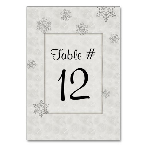 Winter White Snowflakes Wedding Table Number Table Cards
