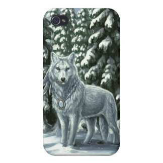 Winter White Wolf iPhone4 Case Case For iPhone 4