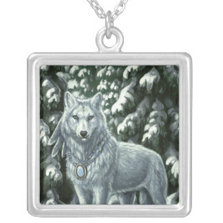 Winter White Wolf Necklace