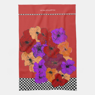 Winter Wildflowers in Red, Purple and Amber Tea Towel