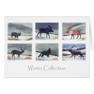 Winter Wildlife Watercolor Paintings Collection Card