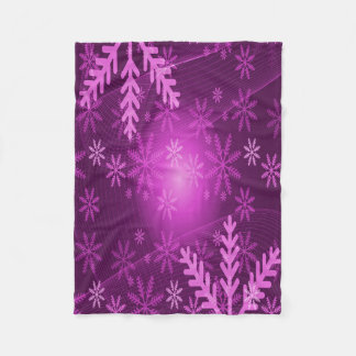 Winter with girly pink and purple snowflakes fleece blanket