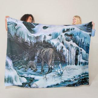Winter Wolf Acrylic Wildlife Art Fleece Blanket
