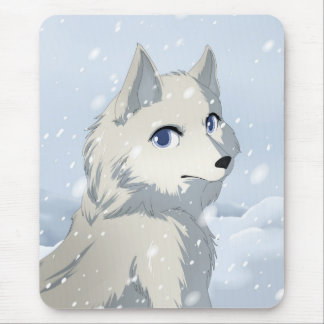 Winter wolf mouse pads