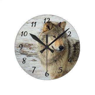 Winter Wolf Round Clock
