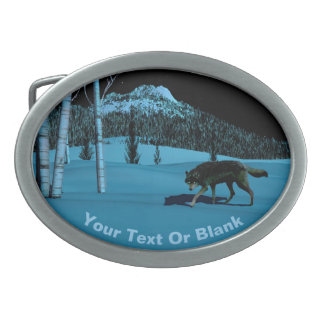 Winter Wolf - Tapetum Lucidum Oval Belt Buckle