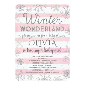 Winter Wonderland Baby Shower Invitation Pink