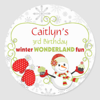 Winter Wonderland Birthday Snowman Mittens Classic Round Sticker