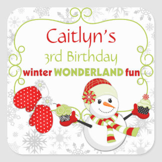 Winter Wonderland Birthday Snowman Mittens Square Sticker