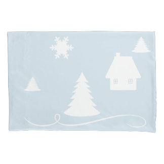 Winter Wonderland Blue Beige Pillow Case