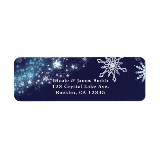 Winter Wonderland Blue & White Sparkle Snowflakes Return Address Label