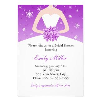 Winter Wonderland Bridal Shower Purple Invitation
