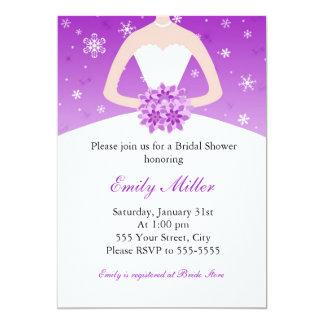 "Winter Wonderland Bridal Shower Purple Invitation 5"" X 7"" Invitation Card"