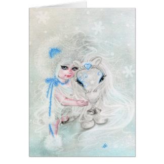 Winter Wonderland   Chibi  Girl Pony Greeting Card