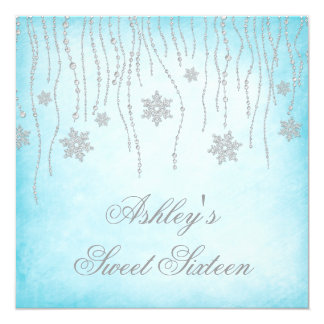Winter Wonderland Diamond Snowflakes Sweet 16 Card