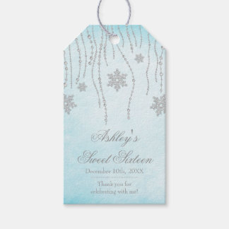 Winter Wonderland Diamond Snowflakes Sweet 16 Gift Tags