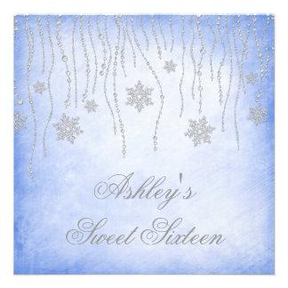 Winter Wonderland Diamond Snowflakes Sweet 16 Personalised Invites