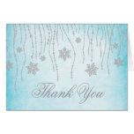 Winter Wonderland Diamond Snowflakes Thank You Greeting Card