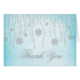Winter Wonderland Diamond Snowflakes Thank You Card
