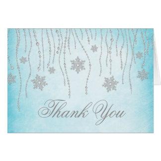 Winter Wonderland Diamond Snowflakes Thank You Note Card