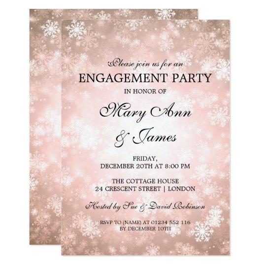 Winter Wonderland Elegant Engagement Party Copper Card