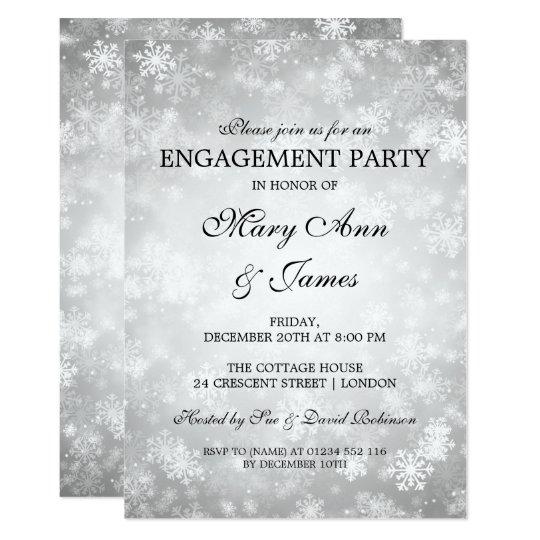 Winter Wonderland Elegant Engagement Party Silver Card