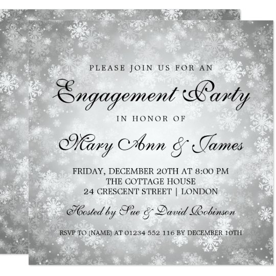 Winter Wonderland Elegant Engagement Party Silver Card