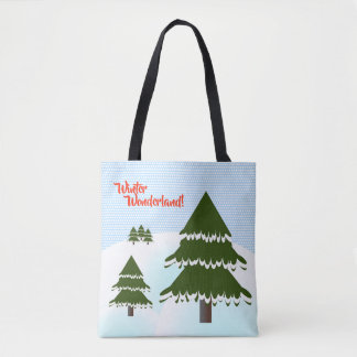 Winter Wonderland Evergreen Trees Tote Bag