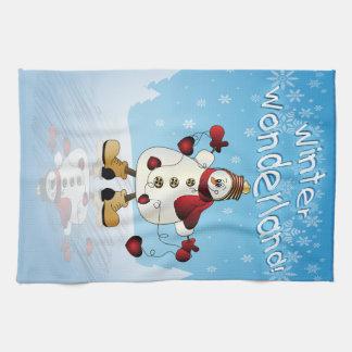 Winter Wonderland Heart Snowmen Hand Towels