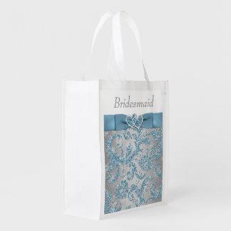 Winter Wonderland Joined Hearts Bridesmaid Bag Grocery Bag