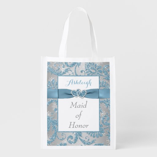 Winter Wonderland, Joined Hearts Maid of Honor Bag Grocery Bags