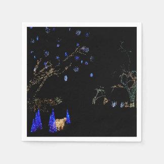 Winter Wonderland Lights Blue and White Holiday Paper Serviettes