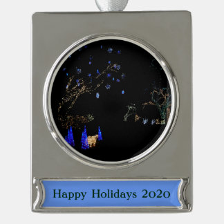Winter Wonderland Lights Blue and White Holiday Silver Plated Banner Ornament