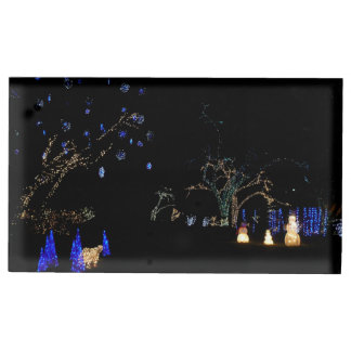 Winter Wonderland Lights Blue and White Holiday Table Card Holder